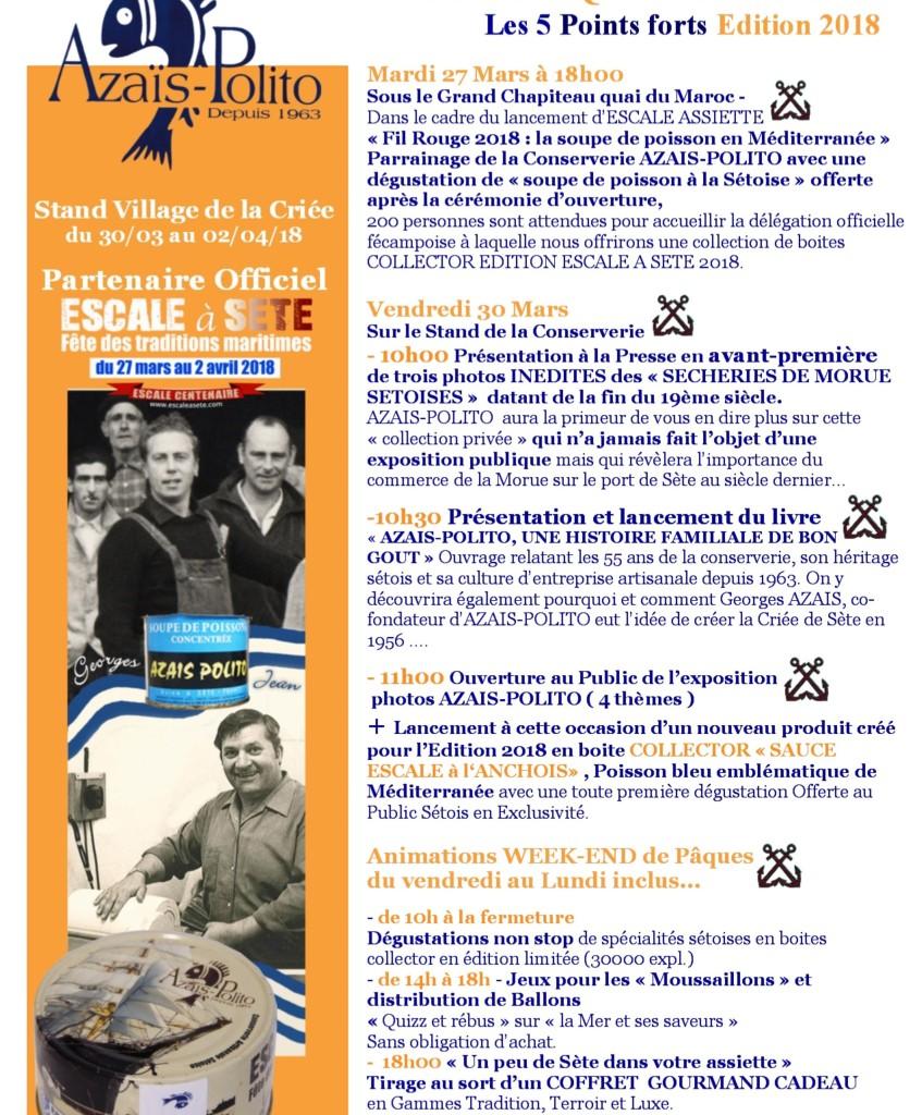 com-presse Point forts AZAIS-POLITO Escale à Sète 2018