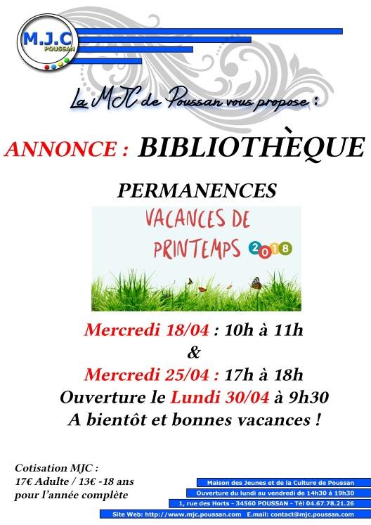 permaMail_affichette_bibli_horaire Vac_printemps_2018