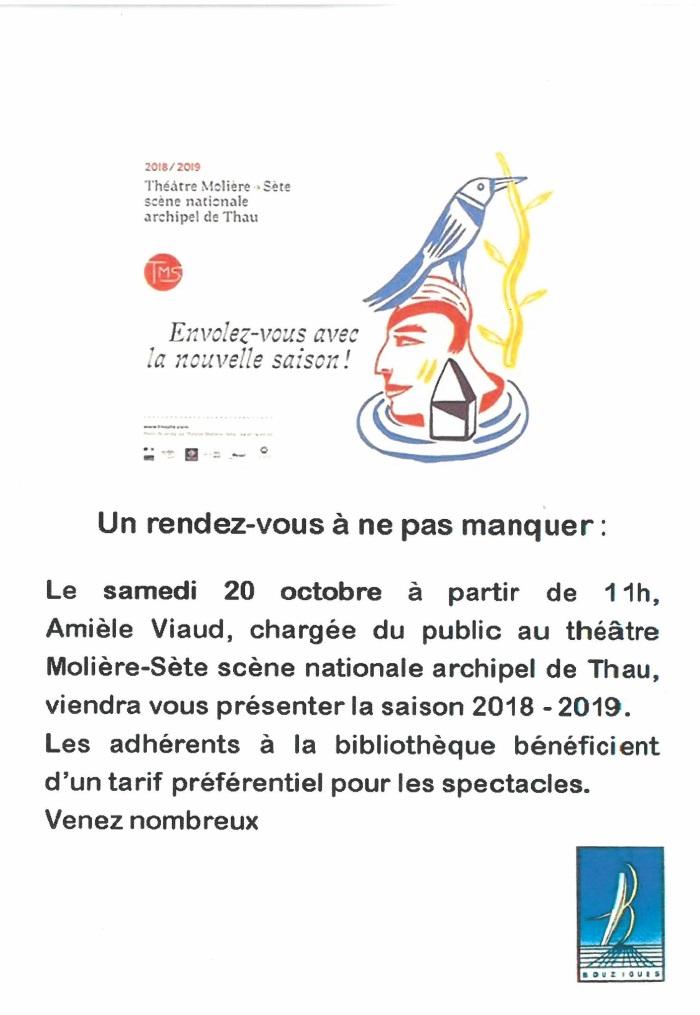 Info présentation saisson 20182019 Théatre